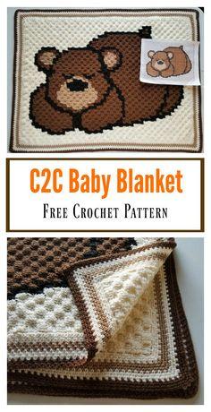 Sleepy Bear C2C Baby Blanket Free Crochet Pattern #freecrochetpatterns #babyblanket