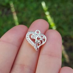 10 Hollow Heart Charms, Silver Plated, Mother's day gift, mother's day diy gift, mother's day handmade gift, mom charm by MiamiCharmStore on Etsy
