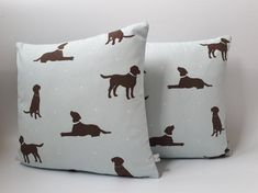 Chocolate Labrador Cushions Labrador Cushions Dog Cushions Choc Lab Covers Dog Lover Gifts Father's Day Gift Two Ugly Sisters Owl Bags, Blue Chocolate, Fathers Day Presents, Dog Cushions, Duck Egg Blue, Blue Tones, Blue Polka Dots, Pet Gifts, Storage Baskets