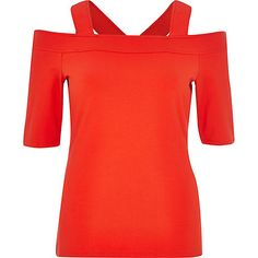 RIVER ISLAND RED STRAPPY BARDOT TOP