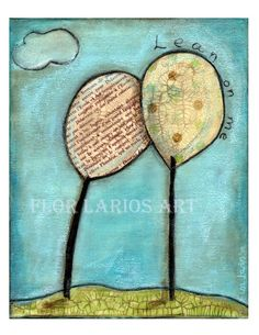 Lean on Me Tree  Folk Art  Print from Painting 6  x by FlorLarios, $15.00