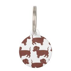 Sold! Thank you! Dachshunds Pattern Custom Round Dog Tag; Abigail Davidson Art; All tags are ready to customize on the back with your pet's name and your phone number!