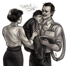 Maria and Howard Stark with little Tony.  (Art by rennerei)