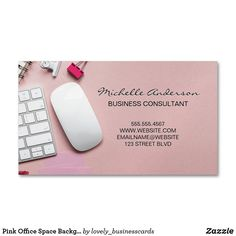 Pink Office Space Background Business Card Magnet