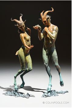 Available for sale from IX Gallery, Colin & Kristine Poole, Dancing Faun Bronze, 23 × 9 × 12 in Mythological Creatures, Mythical Creatures, Dark Fantasy, Fantasy Art, Statue, Art Sculpture, Creature Design, Oeuvre D'art, Fantasy Characters