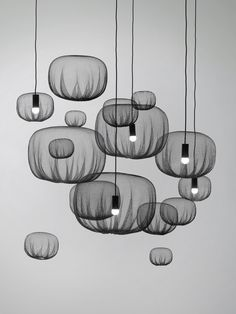 Farming Net Lamps And Hanging Objects, a work of art by Nendo Magazine Architecture, Art And Architecture, Beautiful Interior Design, Office Interior Design, Museum Of Fine Arts, Museum Of Modern Art, Interior Lighting, Lighting Design, Modern Lighting