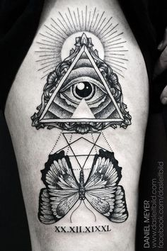Butterfly And Illuminati Eye Tattoo On Sleeve