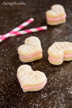 How adorable are these Cream Wafer Sandwich Cookies with Strawberry Buttercream from @Brenda Score | a farmgirls dabbles?