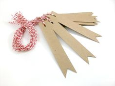 Blank Kraft Gift Tags  Pennant Flag Set of 14 by OhHelloMagpie, $5.00