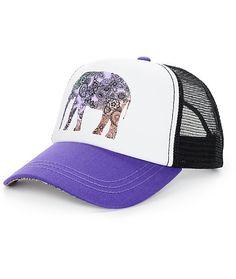 486da972e93 Empyre Elephant Floral Dark Purple Trucker Hat