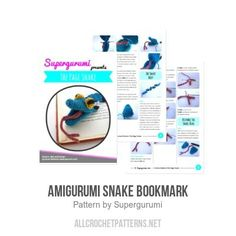 Amigurumi Snake Bookmark crochet pattern by Supergurumi