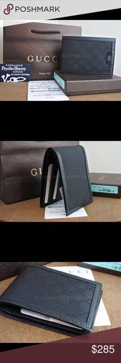 136db6c39756 Gucci GG Supreme Canvas Bi-Fold Wallet Black Long GG supreme canvas made  using an