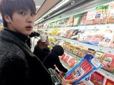 BTS's JIN, JIMIN, and JUNG KOOK appeared at an underground parking lot of a supermarket downtown in Seoul. After they talked for a while putting their heads together and being serious, they turned … Seokjin, Hoseok, Namjoon, Jimin, Bts Jin, Bts Bangtan Boy, Jhope, Bts Boys, Foto Bts