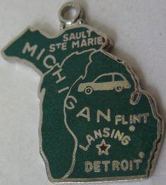Michigan + Flint + Lansing + Detroit [state map charm / pendant]