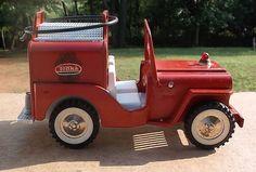 Vintage Tonka Jeep Red Metal Toy PUMPER FIRE TRUCK 1960's Missing Parts VGUC NR #Tonka #Jeep