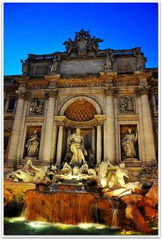 Rome  |  Fontana di Trevi under glowing blue sky... by Violet Kashi, via Flickr