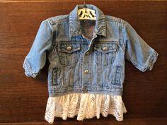 Kids Jean Jacket Embellished w/lace by SueWylandDesigns on Etsy