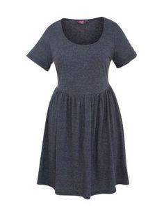 Inspire Navy Marl Short Sleeve Skater Dress