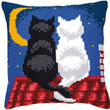 Moon & Cats  large holed tapestry canvas kit cushion front kit Vervaco