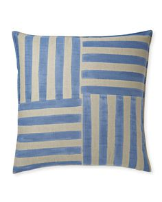 A fresh addition to our vibrant pattern library, handpainted stripes in a basketweave motif make this pillow fun to layer in with other designs yet impactful enough to stand alone.
