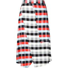 Tanya Taylor Checked Wrap Skirt (770 CAD) ❤ liked on Polyvore featuring skirts, multicolour, layered skirt, high rise skirts, checkerboard skirt, checkered skirt and multicolor skirt