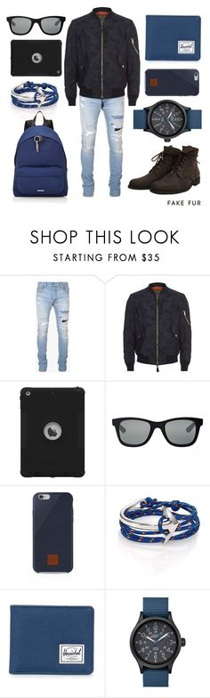 """Deer FR Water Grey"" by fakefur on Polyvore featuring Balmain, Burberry, Italia Independent, Native Union, MIANSAI, Herschel Supply Co., Timex, Givenchy, men's fashion and menswear"