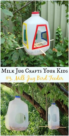 DIY Milk Jug Bird Feeder Instructions - Recycled Crafts Your Kids Can Do Recycled Milk Jug Crafts Your Kids Can Do: Milk Jug flower, lamp, costume, Art Supply organizer and more easy kids crafts to recycle plastic milk jug Upcycled Crafts, Easy Crafts For Kids, Diy For Kids, Fun Crafts, Color Crafts, Quick Crafts, Recycled Crafts For Kids, Recycled Decor, Recycled Furniture