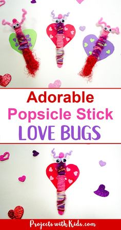 Popsicle stick love bugs make the cutest Valentine's Day craft for kids of all ages! This is an easy activity to set up and also makes a great fine motor skills craft for preschool aged kids. Kids will love making and playing with their adorable love bug creations! #valentinesday #popsiclestickcrafts #valentinesdaycrafts #yarncrafts #easykidscrafts