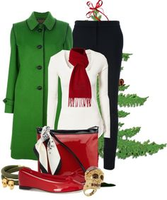 """Green and Red"" by queenranya ❤ liked on Polyvore"