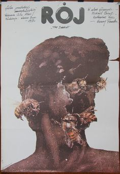 The Swarm - US 1978 film by Irvin Allen. Polish oryginal 1980 poster by Andrzej Pagowski. Horror