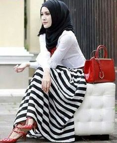 Striped top with black or white scarf