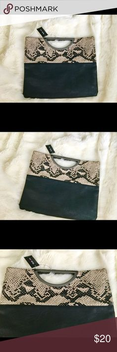 New with tags style&eco. Clutch This listing is for a brand-new with tags's black photo leather metal handle boat snake skin clutch brand-new no flaws has pocket inside very deep clutch by style&co. From macy's Style & Co Bags Clutches & Wristlets