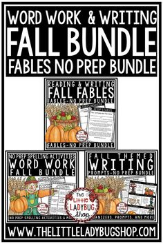 This is a FALL Themed Bundle perfect for your Literacy Centers, it includes Fall Fables, Fall Writing Prompts and Fall Word Work Activities. #fallactivities #fallcenters #fallwriting