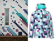 Värikäs laatoitus talvitakki Colureed Tiles Facade Winter jacket