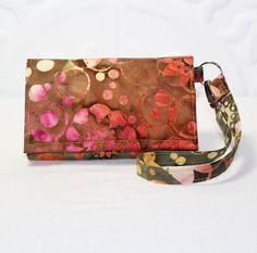 NEW STYLE TECH iPhone 5 Wallet Galaxy S4 Wallet Cell by Cucio on Etsy, Awesome new fall color in pumpkin, olive and pink batik fabric