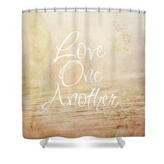 "Love One Another Shower Curtain for sale by Inspired Arts.  This shower curtain is made from 100% polyester fabric and includes 12 holes at the top of the curtain for simple hanging.  The total dimensions of the shower curtain are 71"" wide x 74"" tall."