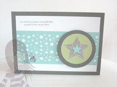 Stampin' Up! Rosa Mädchen Weihnachtskarte mit Pol-Party und Sternenkonfetti