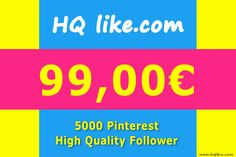 5000 HQ Pinterest Follower at HQlike Online Shop. REAL USER 100% SAFE NO PASSWORD https://hqlike.com/Sale/Pinterest/Pinterest_Follower/5000_HQ_Pinterest_Follower