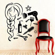 Pared calcomanía vinilo Sticker peluquería peine por DecalHouse