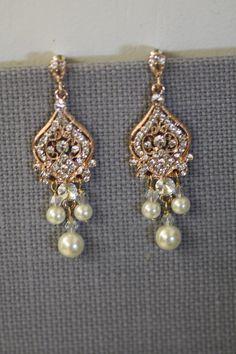 Rose Gold Bridal Earrings , Chandelier Earrings, Bridal Earrings, Wedding Earrings, Pearl earrings, Swarovski Earring by simplychic93 on Etsy
