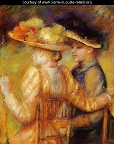 Two Women In A Garden  Pierre Auguste Renoir