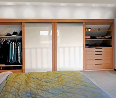 Modern wardrobe. Opaque glass panels with solid oak frame sliding doors Handmade Fitted Wardrobes, Grey Fitted Wardrobes, Fitted Wardrobe Design, Modern Wardrobe, Sliding Wardrobe Doors, Sliding Doors, Solid Oak, Storage Solutions, Layout