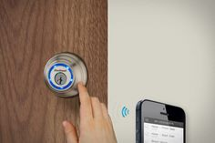 Kevo smart lock from Kwikset. Wireless entry, using bluetooth on your phone. Uses military grade encryption, touch sensors, and AA's for power. Pretty awesome.
