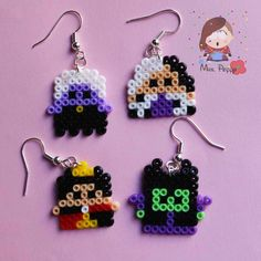 Orecchini mini Hama Beads. Hama beads earrings disney villains.