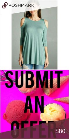 Submit Offer 💕 Sage Cold Shoulder Swing Top Sage (Green) Cold Shoulder Swing Top 💕 • Brand New  • 95% Rayon • 5% Spandex  • small, medium or large available   💋 • NOT VS PINK BRAND ONLY PUT THAT FOR VISIBILITY• PINK Victoria's Secret Tops Tunics