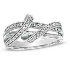 1/4 CT. T.W. Diamond Double Ribbon Ring in 10K White Gold - Zales