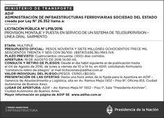 CRÓNICA FERROVIARIA: Llamado a Licitación Pública Nro. LP18/2016 Provis...