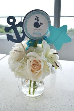 Nautical parties are such a popular trend and they especially make a great baby shower theme. This whale themed baby shower is such a fun twist, and the darling details are sure to delight! Shower Party, Baby Shower Parties, Baby Shower Themes, Baby Boy Shower, Sailor Baby Showers, Anchor Baby Showers, Sailor Theme Baby Shower, Baby Shower Marinero, Baby Shower Table Centerpieces