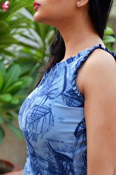 Buy Blue Printed Bubble Crepe Sleeveless Front Slit Kurti Online in India Kurti Back Neck Designs, Chudidhar Neck Designs, Kurta Neck Design, Neck Designs For Suits, Fancy Blouse Designs, Blouse Neck Designs, Front Slit Kurti, Tight Blue Dress, Pink Kurti