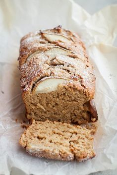 spiced brown butter pear cake w/ whole wheat pastry flour, oat flour, baking powder, ginger, cinnamon, allspice, brown sugar, eggs, buttermilk, butter, lemon zest, pears & coarse raw sugar to top